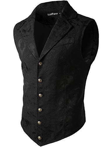VATPAVE Mens Victorian Suit Vest Steampunk Gothic Waistcoat Medium SU14 Black