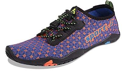 HEETA Water Sports Shoes for Women Men Quick Dry Aqua Socks Swim Barefoot Pool Beach Shoes for All Water Sport Blue & Orange 42#