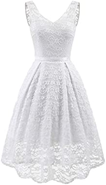 Samtree Women's Sleeveless Floral Lace Evening Cocktail Wedding Party Bridesmaid Dress