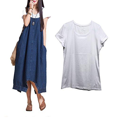 HorBous Jeans Imitazione di Cotone più di Formato della Ragazza delle Donne Il Pannello Esterno del Vestito Lungo dai Jeans Multi-Modo Irregolari i Pantaloni siamiani Hanno Regolato 2 Colori (Blu)