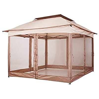 Outsunny 11' x 11' Outdoor 2-Tier Top Folding Portable Pop Up Gazebo with Zippered Netting
