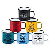 Homikit - Set di 6 tazze smaltate da 16 once riutilizzabili in porcellana blu/bianco/nero/rosso/giallo/verde da campeggio per casa, ufficio, campeggio, design grafico e portatili.