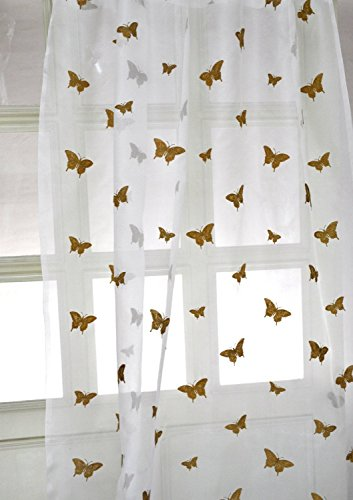"""Butterfly Sheer Drapes 108"""" Long Pure Silk"""
