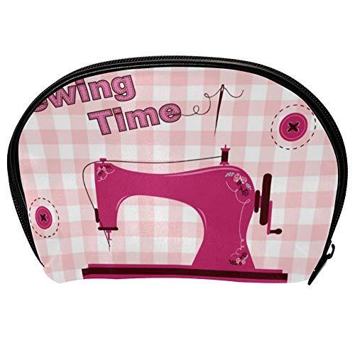 Bolsa universal espaciosa para maquillaje, cosméticos, cosméticos, cosméticos, kit de cuidado de la piel, bolsa rosa vintage para máquina de coser, organizador de accesorios electrónicos portátil