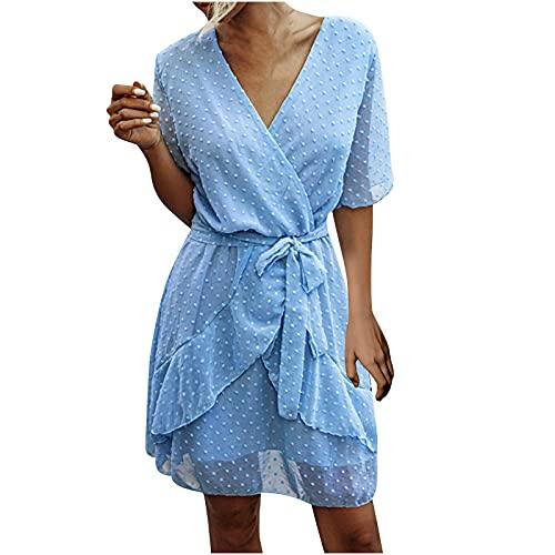 Dress for Women V-Neck Short Sleeved Ruffle Short Dress Summer Casual Club Solid Color Chiffon Elastic Lace Dress Light Blue