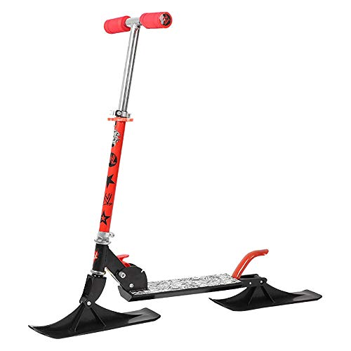 SSCYHT Trineo Esquís Plegable Fácil Trineo de Nieve Patinete de Esquí Moto de Nieve Aleación de Aluminio Tabla de Snowboard Regalo de Invierno para Niños y Niñas,Rojo