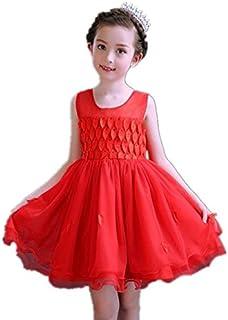 子供ワンピース ドレス フォーマル 女の子 ジュニア ピアノ発表会 パーティー 結婚式 七五三 (150, レッド)