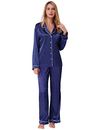 Zexxxy Pyjama Femme en Satin Bleu Marine Taille XL