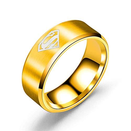 Gioielli Accessori acciaio inox Anello uomo uomo Superman segno titanio acciaio anello, argento, n. 6, Taglia: n. 12, colore: argento (colore: oro, taglia: n.9)