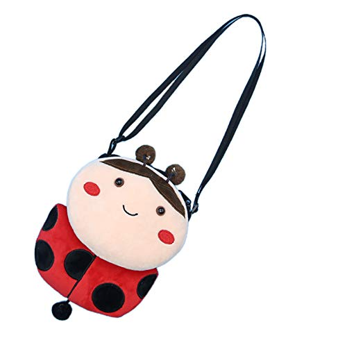 Elonglin Kinder Umhängetasche Geldbörse Schlüsselbeutel Kindertasche Schultertasche als Geschenk Cartoon Tier mini-15 * 3 * 19cm (L*B*H) Cartoon-Marienkäfer