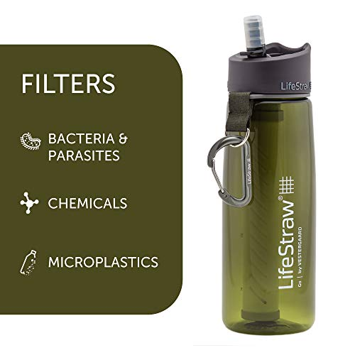 LifeStraw Go Bottle 2-Stage with Integrated 1,000 Liter LifeStraw Filter and Activated Carbon, Green, 22oz