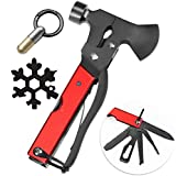 Letinaner Survival Multitool Camping Accessories, 14 in 1 Camping Axes with Hammer Screwdrivers Pliers Bottle Opener + 18-in-1 Snowflake Multi + Tiny Cutting Tool With Keychain Ring