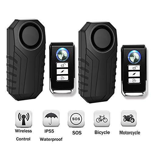 SuperInk 2 Set Wireless Motorcycle Bicycle Bike Anti-Theft Burglar Vibration Security Alarm Waterproof Super Loud 113dB Remote Control Bell