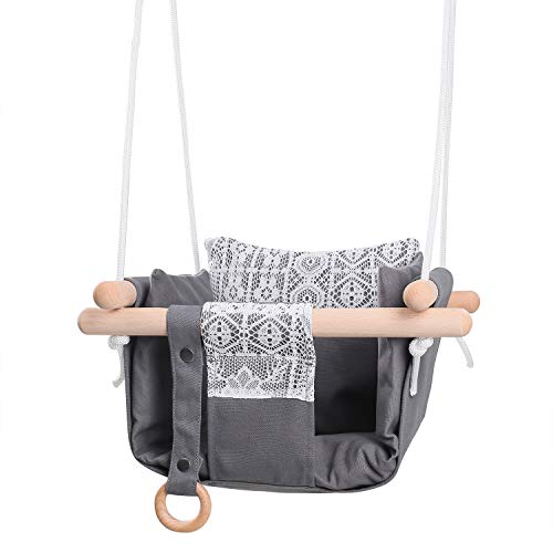 MIMIEYES Wooden Baby Swing Canvas Seat Set with Cushions, Handmade Kids Indoor Outdoor Hanging Chair Hammock, Comfortable Toddler Seat Nursery Decor (grey)