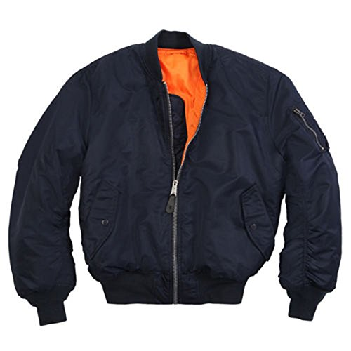 Alpha Industries New Made in USA MA-1 US Army Pilot Flight Military Bomber AF Jacket Navy Blue (Large)
