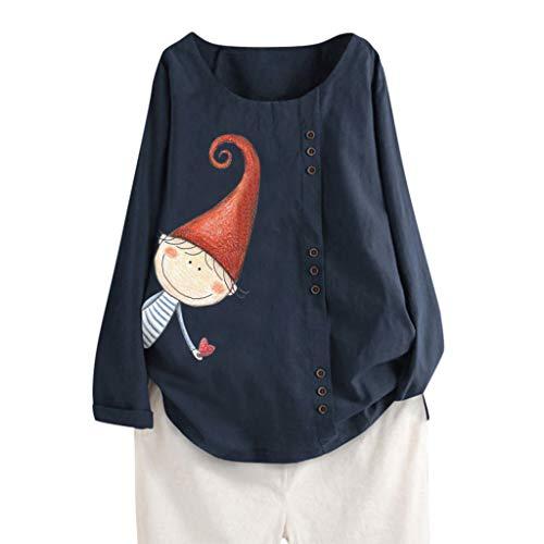 Xmiral Camicetta Tops Donne Casual Bottone Sciolto T-Shirt Quotidiana Boho Tanic T-Shirt (M,2- Marina Militare)