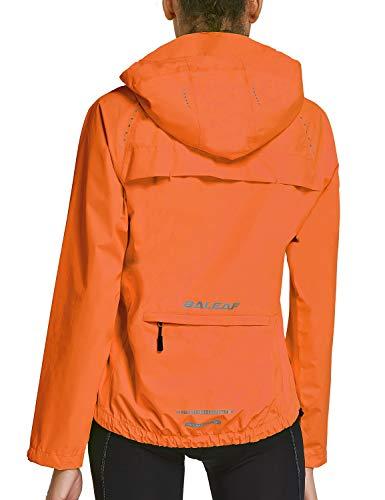 BALEAF Women's Cycling Jackets Hooded Running Biking Raincoat Windbreaker Waterproof Windproof Packable Lightweight Orange Size M