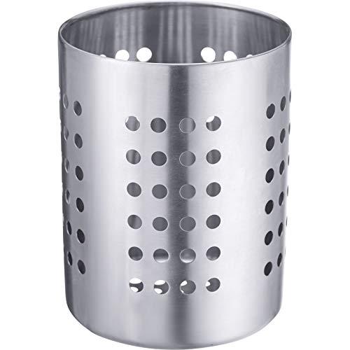Westmark Bote para cubiertos/utensilios de cocina, Redondo, Diámetro 10 cm, Altura 13 cm, Acero inoxidable, Plateado, 69012211