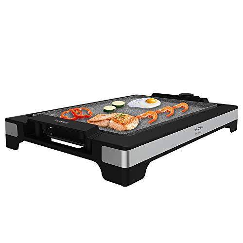 Cecotec Plancha eléctrica Tasty&Grill 2000 InoxStone. 2000 W, Placa RockStone antiadherente, Termostato regulable, 5 niveles potencia, Placa extraíble, Apta lavavajillas