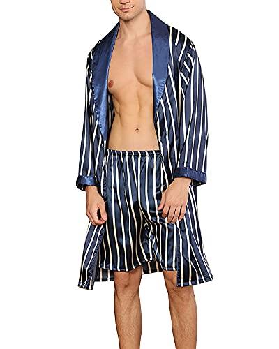 YOUCAI Hombre Pijamas De Lujo De Seda Satinada, Bata De Baño De Kimono, Bata, Pijama, Ropa De Salón, Conjunto De 2 Piezas para Hombre, Camisón De Seda De Simulación,Azul,4XL