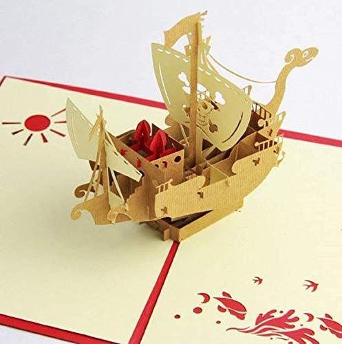 BC Worldwide Ltd Handgefertigte 3D-Pop-Up-Karte Japanische Manga Cartoon Piratenschiff Geburtstagskarte, Jubiläum, Valentinstag, Muttertag, Vatertag