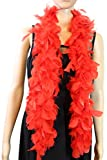 Over 10 Color 25 Gram, 4 Feet Long Chandelle Feather Boa, Kids Feather Boa, Great for Party, Wedding, Halloween Costume, Christmas Tree, Decoration (Red)