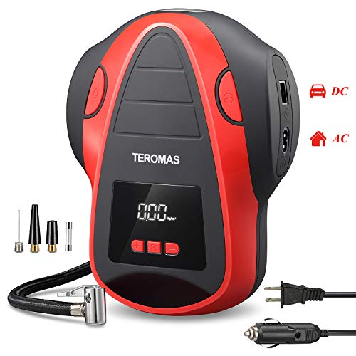 TEROMAS Tire Inflator Air Compressor, Portable DC/AC Air Pump for Car Tires 12V DC and Other Inflatables at Home 110V AC, Digital Electric Tire Pump with Pressure Gauge(Red)