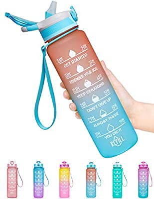 Fidus 32oz Leakproof Tritran BPA Free Water Bottle with Motivational Time Marker & Straw to Ensure You Drink Enough Water Daily for Fitness, Gym and Outdoor Sports-Orange/Green Gradient