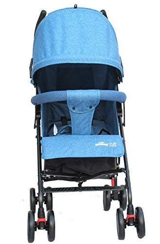 Buggy Stroller Travel Buggy Summer Blue Lightweight Pushchair for Kids Little Bambino ✨Extendable upf 50+ sun canopy and built-in sun visor ✨EASY USAGE - One-hand foldable buggy makes taking your baby for travels or walks a simple pleasure. It could stand on its own so you could take care of your baby with less things to worry about. ✨ADJUSTABLE BACKREST - Travel stroller backrest can be adjusted in sitting or reclining mode, also the footrest could be adjusted for baby need. Suitable for children from 0 to 36 months 5