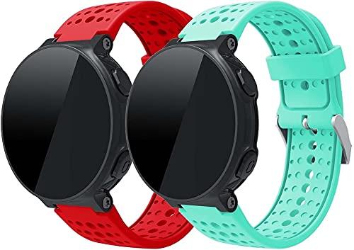 Gransho Pulseira de Relógio compatível com Garmin Forerunner 220/230/235 / Forerunner 630 / Forerunner 735XT, Bandas de Reposição Esportiva de Silicone Macio (Pattern 3+Pattern 5)