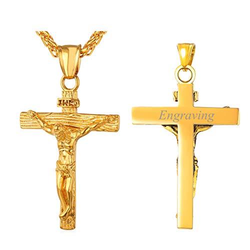 U7 Collares Personalizables Acero Inoxidable Chapado en Oro 18 k Collar Hombre de Cruces inri Joyas Oro para Amigos