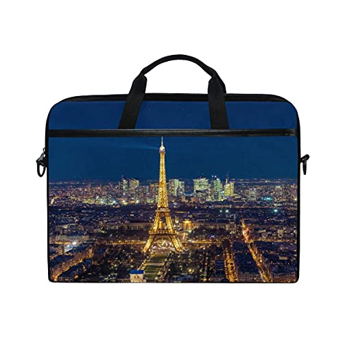 Bolsa Para Portátil American Paris Eiffel Tower Night Notebook Computer Bag Para Correa De Hombro Ajustable