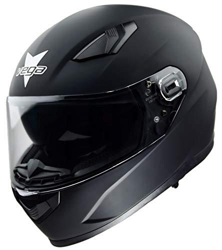 Vega Helmets Ultra Max Street Motorcycle Helmet w/Sunshield Bluetooth Compat Unisex-Adult Full Face powersports (Matte Black, MD)