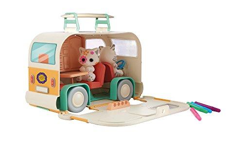 Fuzzikins Craft Campervan maletín/Juguete Camping Carro con 2Lavables Gato Figuras para Pintar y Puertas/para niños a Partir de 3años.