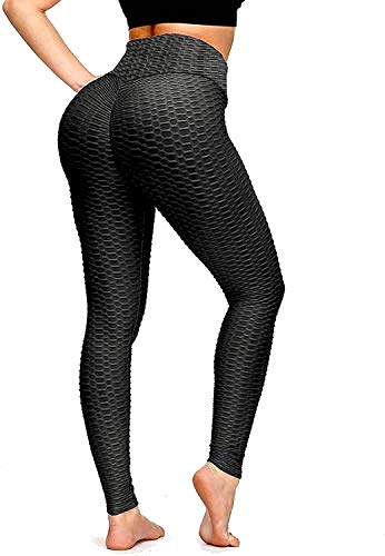 Elevated Best Butt Lifting Anti-Cellulite Sports Leggings for Women Tummy Control High Waisted Yoga Workout Booty Pants (XX-Large) Black