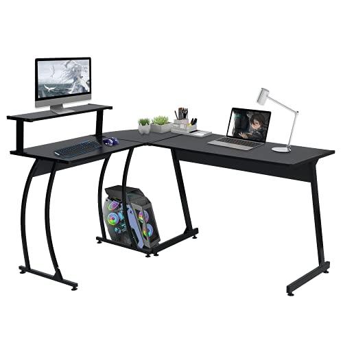 HOMEMAKE FURNITURE Mesa de Juegos de computadora de Escritorio de Esquina en Forma de L Mesa de PC, estación de Trabajo de Escritura...