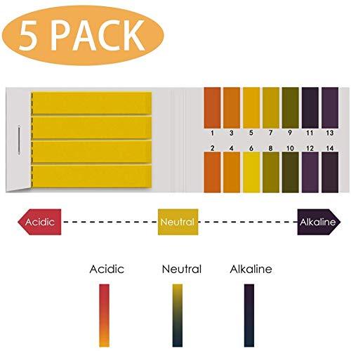 PH Teststreifen, pH - Testpapierstreifen für Alkalischen Säuretest pH - Wert, PH -Test 1-14 Indicator Lackmuspapier-Streifen Tester PH Wert Teststreifen Set, 80 Pcs pro Set - 5 Sets
