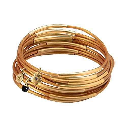 SENCE Copenhagen Armband Damen Gold Urban Gypsy Stack Bracelet mit Onyx Stein Armreif 10er Set Lederarmband - Vergoldet - 6,5 cm - G823