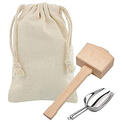 Trituradoras de hielo Mallet y bolsa de hielo – Martillo de madera y bolsa de lino de algodón para hielo triturado, kit de barmender y herramientas de bar accesorio de cocina