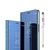 Huawei P20 Lite用スマートフォンケース, 高級電気メッキキックスタンドケース [超スリムな半透明] [自動ウェイクアップ機能とブラケット機能] スマートクリアビューカバー[無料スタイラスペン+無料ワイプクロス]-青