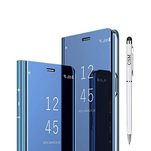 Capa flip espelhada para Galaxy A8 Plus 2018, capa com suporte galvanizado de luxo, capa inteligente com visualização clara com protetor de tela filme flexível cobertura total para Samsung Galaxy A8 Plus 2018 - (azul)
