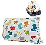 Almohada de alimentación para bebé, extraíble y lavable, almohada de viaje de enfermería, almohada portátil para lactancia materna, cojín de brazo para lactancia o biberón (oso blanco)