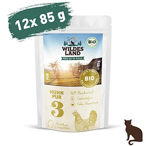 Wildes Land | Nassfutter für Katzen | Nr. 3 Huhn PUR | Bio | 12 x 85 g | Aus kontrolliertem biologischen Anbau | Getreidefrei | Extra viel Fleisch