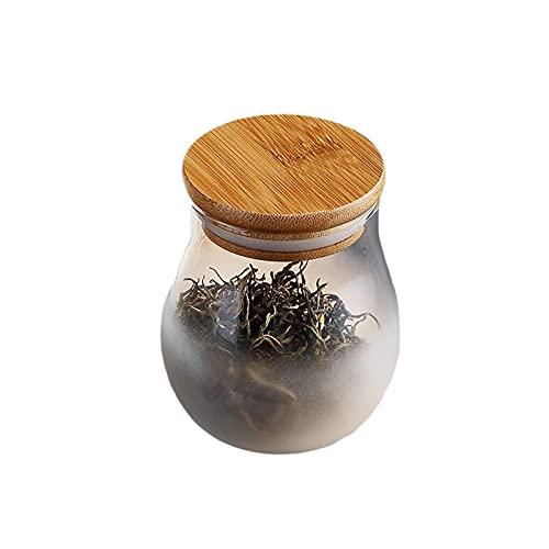 LIUTIAN Canettes de thé en Verre Transparent, boîtes de Stockage scellés, Petits couvercles de Bambou, mai-thé de Fleurs de Fruits séchés, canettes de Bonbons Portables