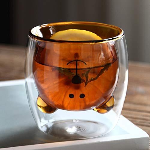 Taza de café de doble pared 250 ml, taza de té de cristal con oso pequeño osito con diseño de copa de leche expresso, taza de café, capuchino, regalo para cumpleaños, Navidad, San Valentín romántico