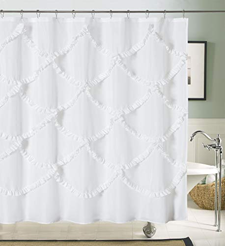 DOSLY IDÉES White Ruffle Fabric Shower Curtain for Bathroom,Mermaid Pattern,Farmhouse,Country Rustic,Cute,Washable and Waterproof,72x72 Inch Long