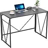 NOBLEWELL Escritorio para computadora, escritorio plegable sin ensamblaje, escritorio simple y resistente, escritorio de madera para oficina en casa con L100 x W50 cm para estudio, trabajo, etc. Negro