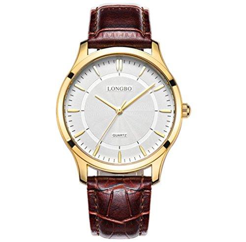 LONGBO Maschio orologio al quarzo amanti della moda cintura in pelle impermeabile orologi 80253 , 2