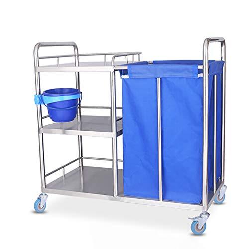 CX Home Medical Trolley Edelstahl Behandlungswagen, Doppelschicht-Laborgeräte Trolleys Beauty Salon Hotel Wäschewagen Blue Hotel Roller Wäschesorter