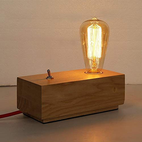 QJL_ANA Lámpara de Mesa de Madera de Estilo Industrial Edison Fuente de luz Antigua Iluminación Decorativa Personalidad Iluminación Retro Creativa